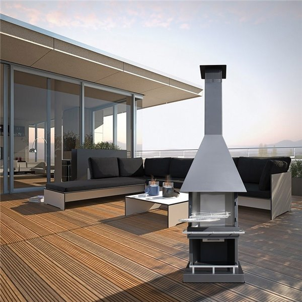 Chemin e d 39 ext rieur barbecue square d brun m tallique for Cheminee exterieur weber