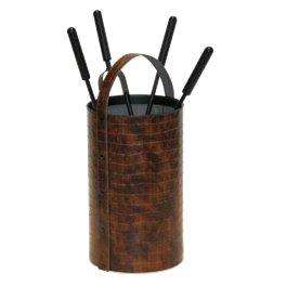 Serviteur de cheminée rond 4 pièces simili croco