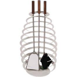 Serviteur de cheminée blanc 3 pièces, accessoires inox avec poignées en noyer