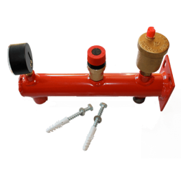 Support vase d'expansion, soupape de sécurité, manomètre de pression et purgeur