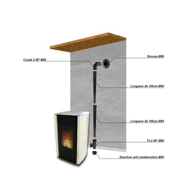 pack raccordement noir 80mm pour conduit existant mural. Black Bedroom Furniture Sets. Home Design Ideas