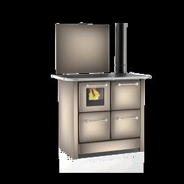 Cuisinière à bois 135 GN V Sole acier émaillé cappuccino - Flamme visible