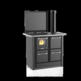 Cuisinière à bois 135 GN V Sole acier émaillé gris foncé - Flamme visible