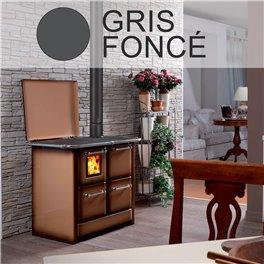 Cuisinière à bois 145 GN V Sole acier émaillé gris foncé - Flamme visible