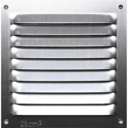 Grille aluminium argent mat avec moustiquaire 10x10 cm