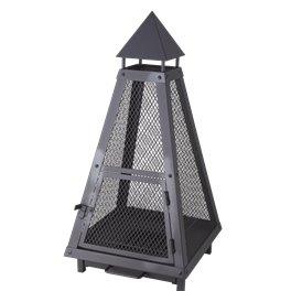 Brasero ou lanterne noir - 40 x 40 cm - Hauteur 80 cm