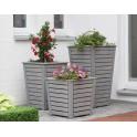 Bac à fleurs laqué gris - grand modèle