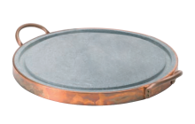 Plaque de cuisson ronde diam 40 cm en pierre ollaire avec fond en cuivre